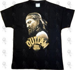 NELSON-- WILLIE - Black 'Outlaw' Design Girls T-Shirt - 1