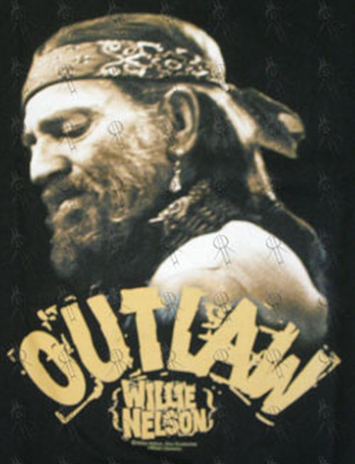 NELSON-- WILLIE - Black 'Outlaw' Design T-Shirt - 2