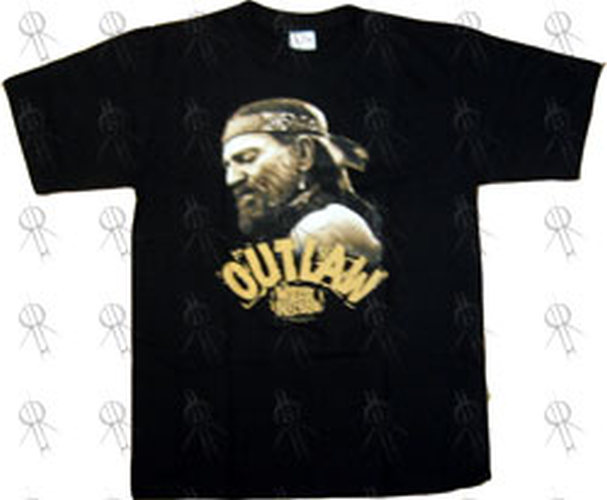 NELSON-- WILLIE - Black 'Outlaw' Design T-Shirt - 1