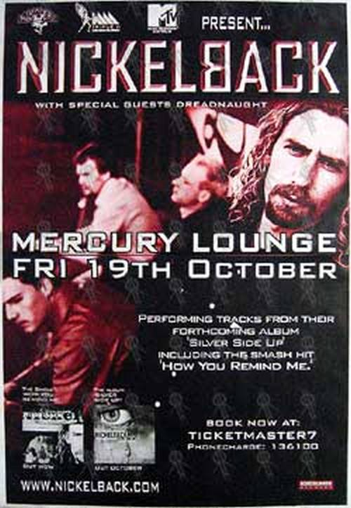 NICKELBACK - Mercury Lounge Melbourne - Friday 19th October Show Poster - 1