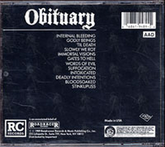 Obituary Slowly We Rot Album Cd Rare Records