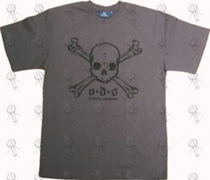 ONE DOLLAR SHORT - Charcoal Skull And Crossbones Logo T-Shirt - 1