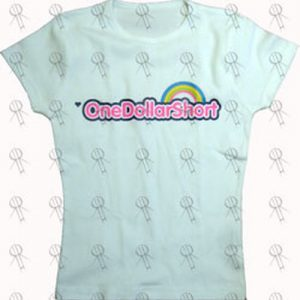 ONE DOLLAR SHORT - White 'Rainbow Brite' Style Logo Girls' T-Shirt - 1