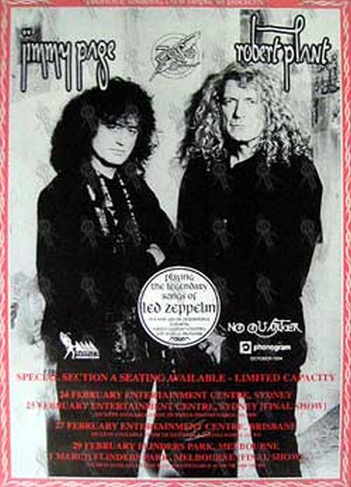 PAGE AND PLANT - 'No Quarter' 1996 Australian Tour Poster (Red Edge) - 1
