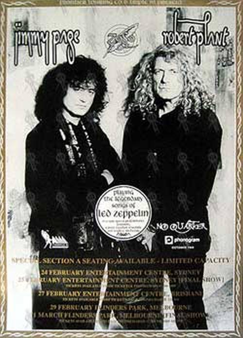 Page And Plant No Quarter Australian Tour Poster Gold