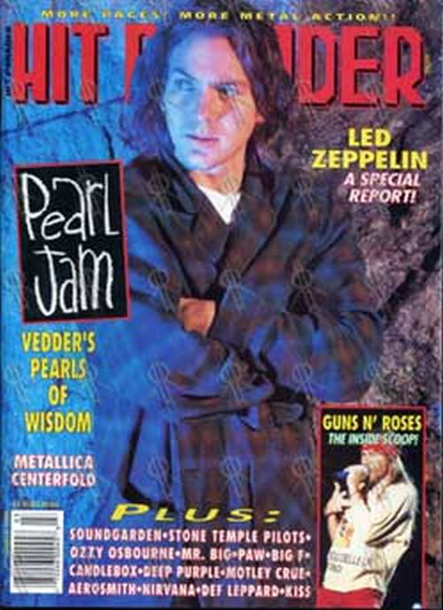 PEARL JAM - 'Hit Parader' - March 1994 - Ed Vedder On Cover - 1