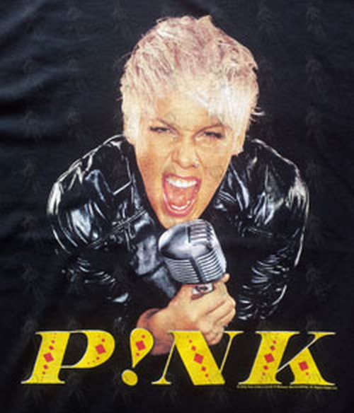 PINK - Black 'Funhouse Australia Tour 2009' Mic Design T-Shirt - 2