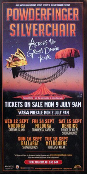 POWDERFINGER|SILVERCHAIR - 'Across The Great Divide' Victorian Tour Pole Poster - 1