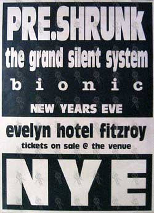 PRE-SHRUNK|THE GRAND SILENT SYSTEM|BIONIC - Evelyn Hotel Fitzroy - New Years Eve 2000 Gig Poster - 1