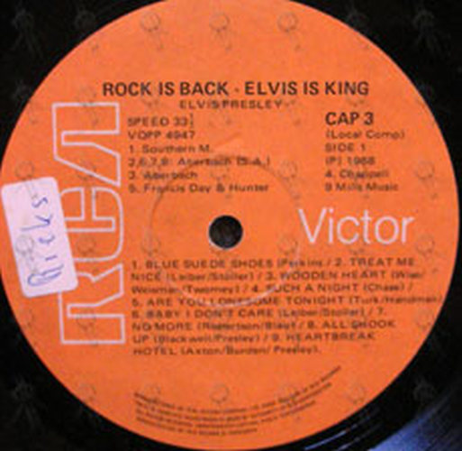 presley elvis rock is back 12 inch lp vinyl rare records. Black Bedroom Furniture Sets. Home Design Ideas