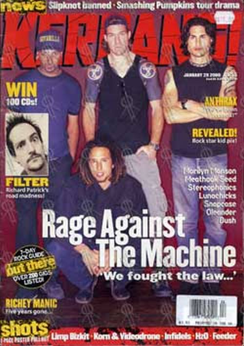 RAGE AGAINST THE MACHINE - 'Kerrang!' - 29th Jan 2000 - RATM On Cover - 1