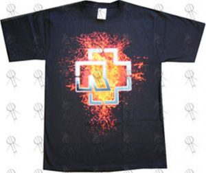RAMMSTEIN - Black 'Fire Splatter' Design T-Shirt - 1