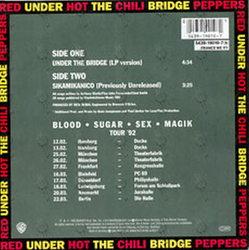 Red Hot Chili Peppers Under The Bridge 7 Inch Vinyl