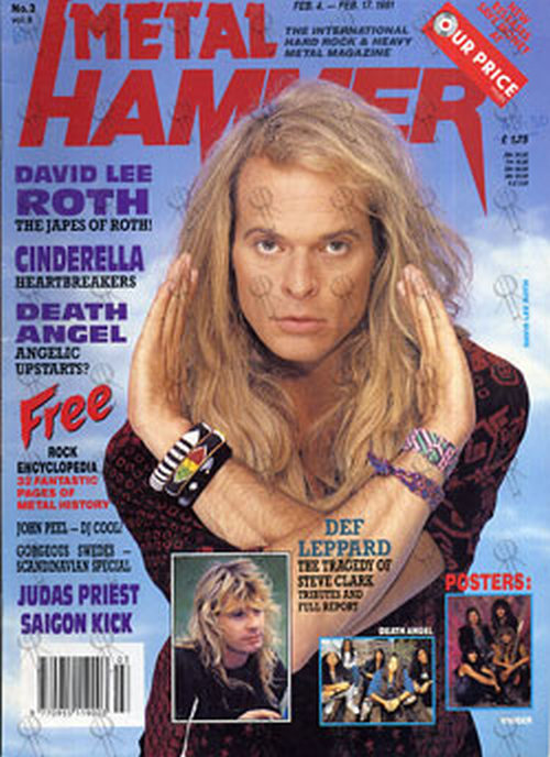 ROTH-- DAVID LEE - 'Metal Hammer' - 4th February 1991 - David Lee Roth On Cover - 1