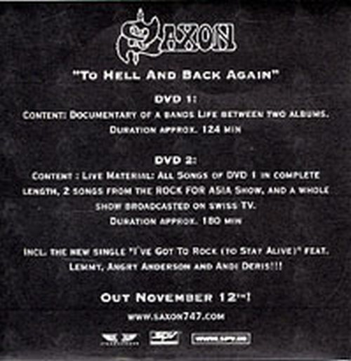 Saxon to hell and back again promo sticker 2