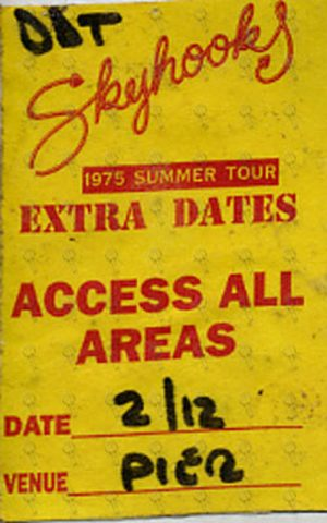 SKYHOOKS - '1975 Summer Tour' Access All Areas Cloth Sticker Pass - 1