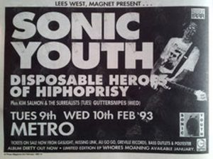 SONIC YOUTH - 'Dirty' Feb 1993 Australian Tour Gig Poster - 1