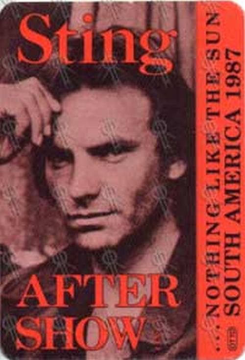 STING - '... Nothing Like The Sun' 1988 North America Tour After Show Pass - 1