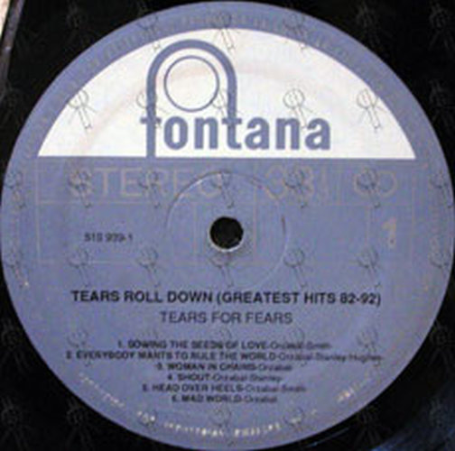 Tears For Fears Tears Roll Down Greatest Hits 82 92