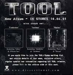 TOOL - Tool CD Slick/Mailing List Form - 1