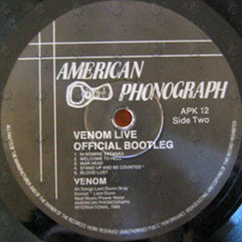 VENOM - Live: Official Bootleg (12 Inch / LP, Vinyl) | Rare Records