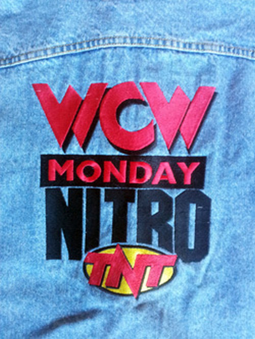 wcw wcw monday nitro tnt logo lee denim jacket