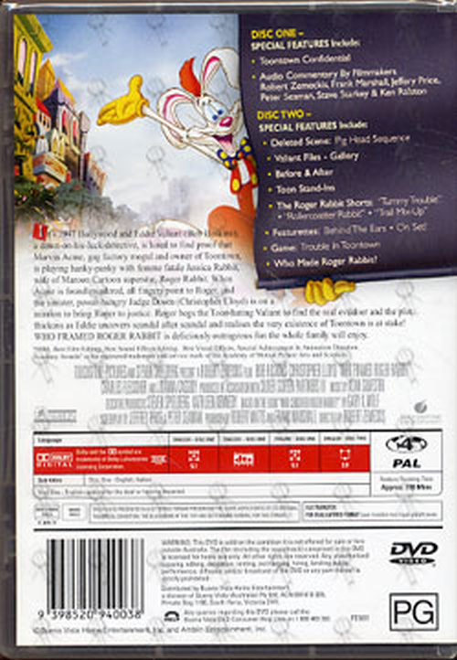 WHO FRAMED ROGER RABBIT - Who Framed Roger Rabbit (DVDs) | Rare Records