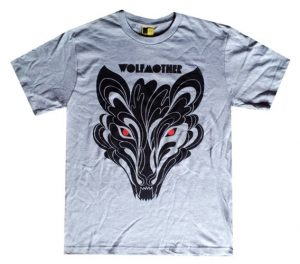 WOLFMOTHER - Flaming Wolf Red Eye Design Grey Marle T-shirt - 1