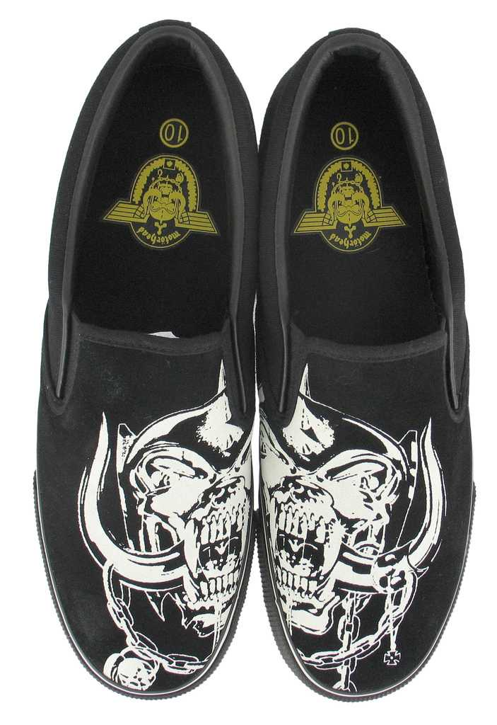 Motorhead Snaggle Tooth Design Black Slip On Mens Shoes