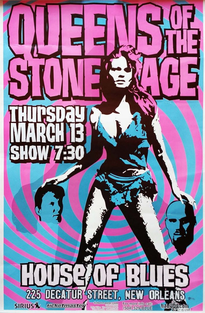 queens of the stone age house of blues new orleans la 2003 gig poster